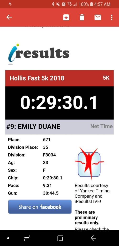 hollis fast 5k race results