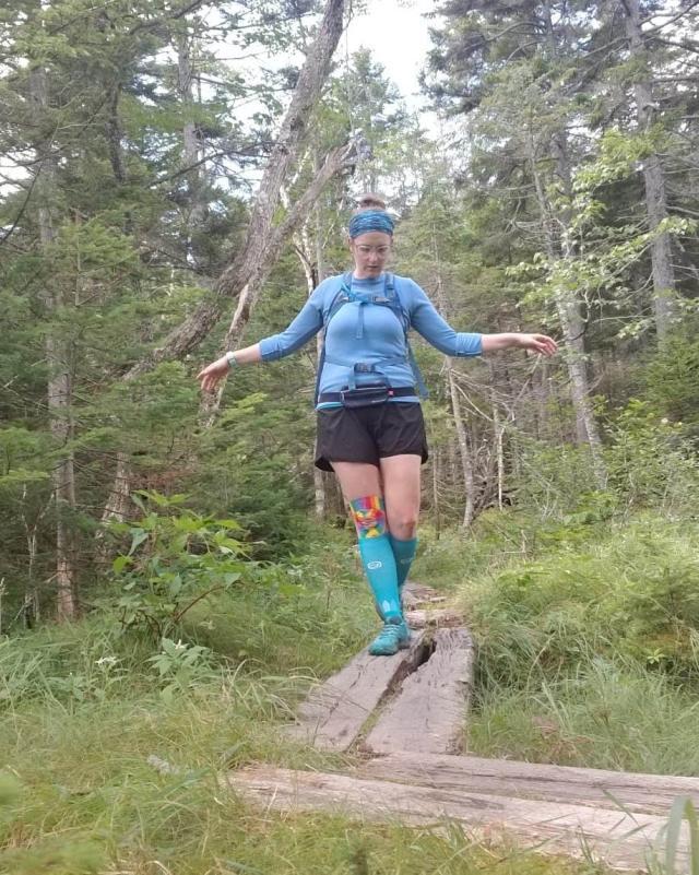 balancing on planks near Lonesome Lake